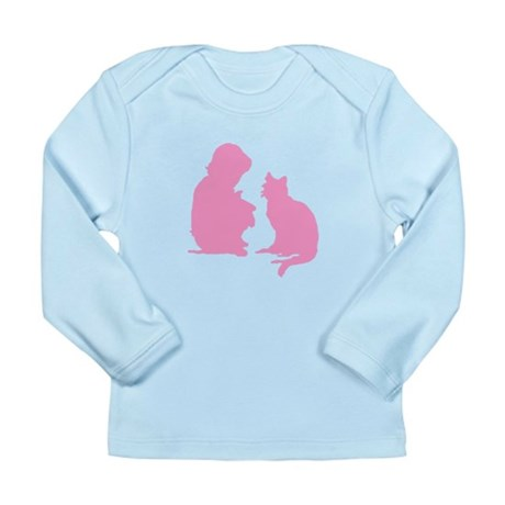 Child and Cat Long Sleeve Infant T-Shirt