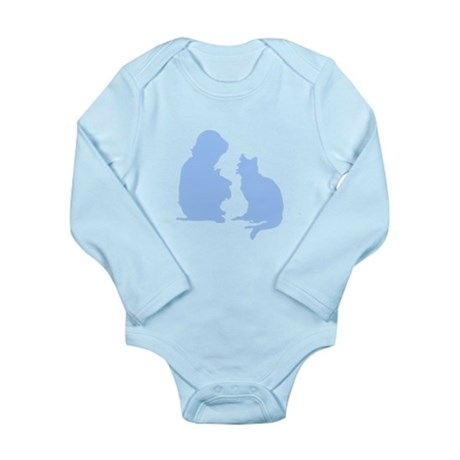 Child and Cat Long Sleeve Infant Bodysuit