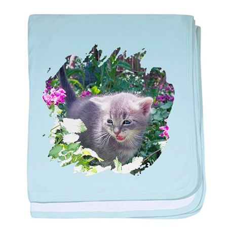 Flower Kitten baby blanket