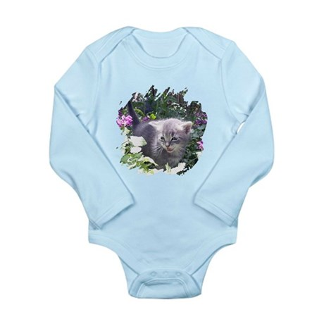 Flower Kitten Long Sleeve Infant Bodysuit