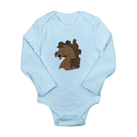 Brown Horse Long Sleeve Infant Bodysuit