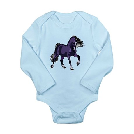 Fantasy Horse Purple Long Sleeve Infant Bodysuit