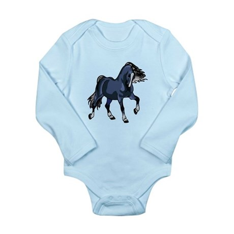 Fantasy Horse Blue Long Sleeve Infant Bodysuit