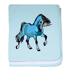 Fantasy Horse Light Blue baby blanket