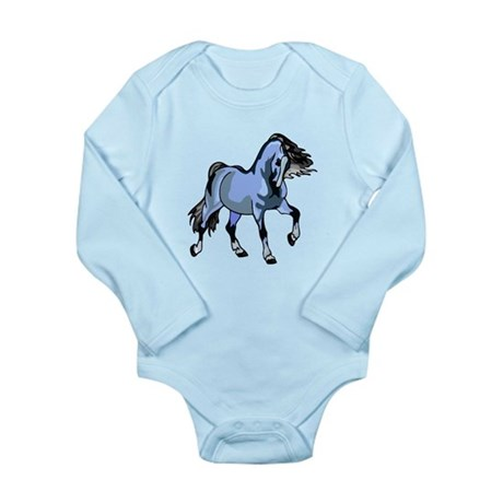 Fantasy Horse Light Blue Long Sleeve Infant Bodysu