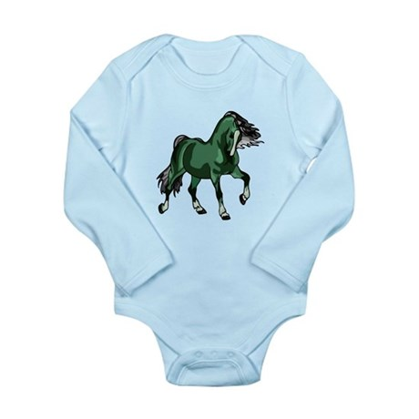 Fantasy Horse Green Long Sleeve Infant Bodysuit
