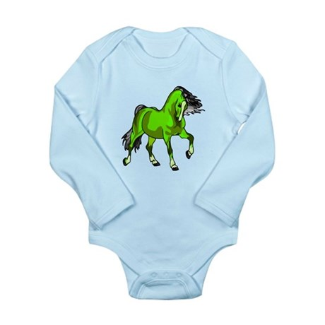 Fantasy Horse Lime Long Sleeve Infant Bodysuit
