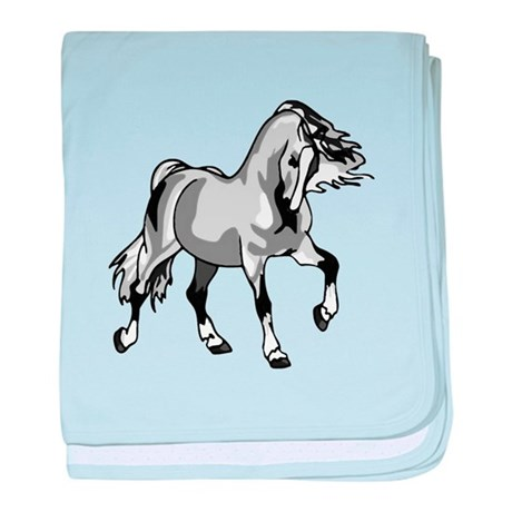 Spirited Horse White baby blanket