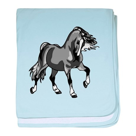 Spirited Horse Gray baby blanket