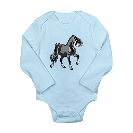 Spirited Horse Gray Long Sleeve Infant Bodysuit