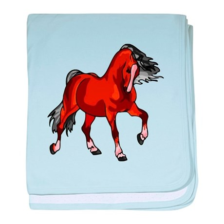 Spirited Horse Red baby blanket