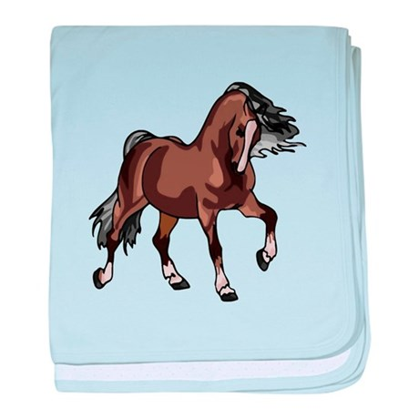 Spirited Horse Dark Brown baby blanket