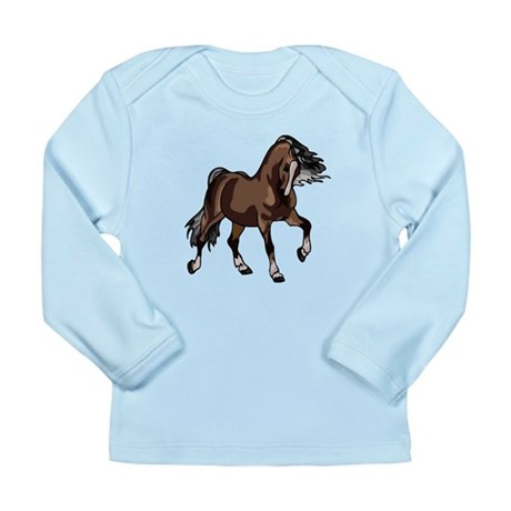 Spirited Horse Dark Brown Long Sleeve Infant T-Shi