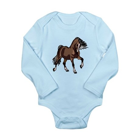 Spirited Horse Dark Brown Long Sleeve Infant Bodys