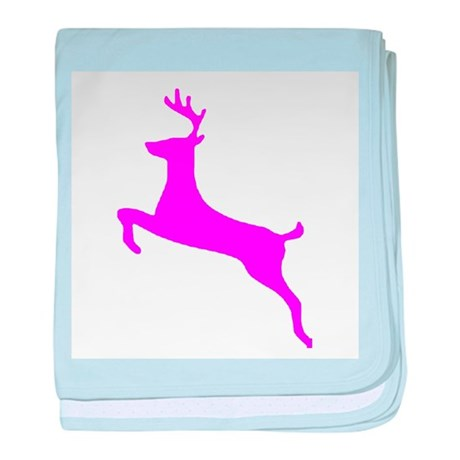 Hot Pink Leaping Deer baby blanket