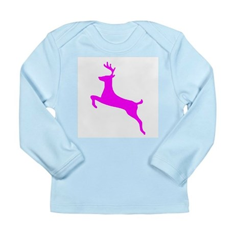 Hot Pink Leaping Deer Long Sleeve Infant T-Shirt