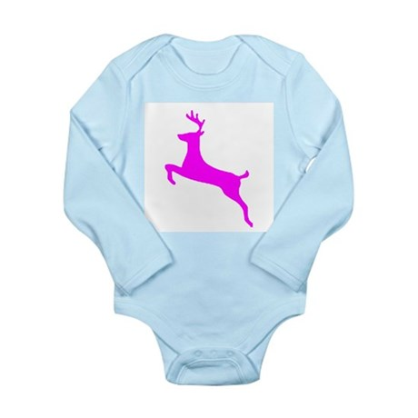 Hot Pink Leaping Deer Long Sleeve Infant Bodysuit