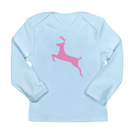 Pink Leaping Deer Long Sleeve Infant T-Shirt