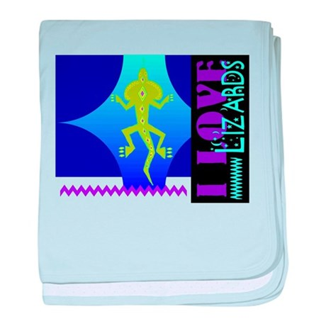 I Love Lizards baby blanket