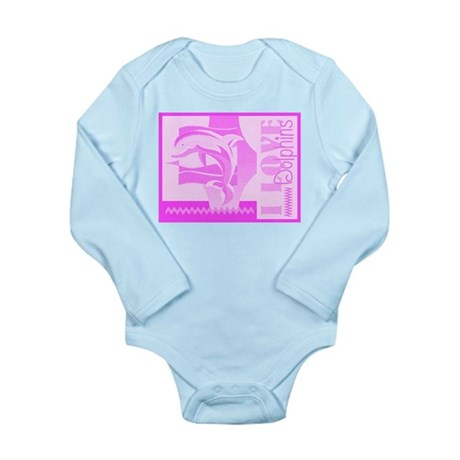 I Love Dolphins Long Sleeve Infant Bodysuit