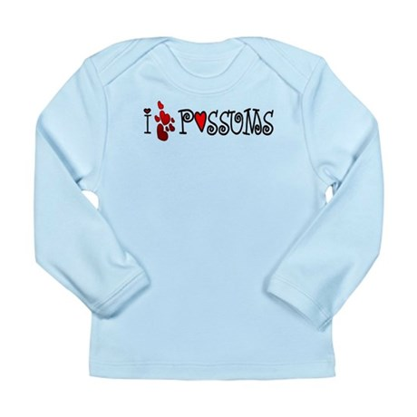 I Love Hearts Possums Long Sleeve Infant T-Shirt