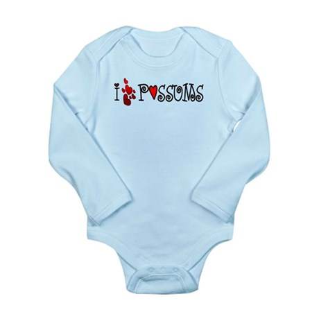 I Love Hearts Possums Long Sleeve Infant Bodysuit