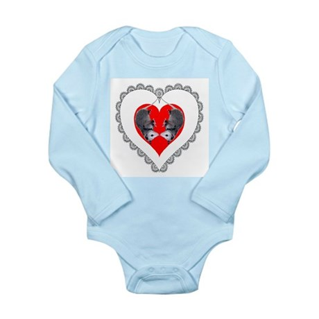 Opossum Valentines Day Heart Long Sleeve Infant Bo
