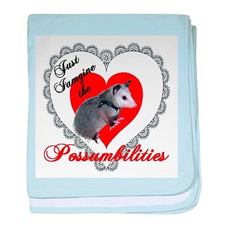 Possum Valentines Day Heart baby blanket