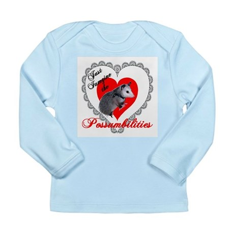 Possum Valentines Day Heart Long Sleeve Infant T-S