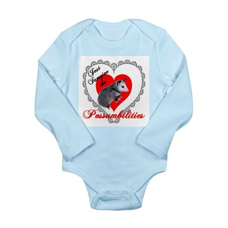 Possum Valentines Day Heart Long Sleeve Infant Bod
