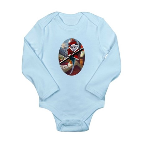 Possum Santa on Rooftop Long Sleeve Infant Bodysui