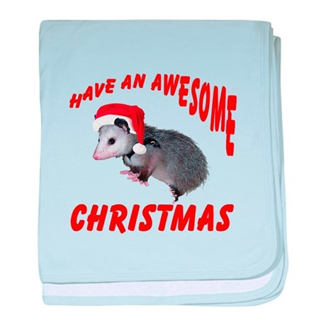 Santa Helper Possum baby blanket