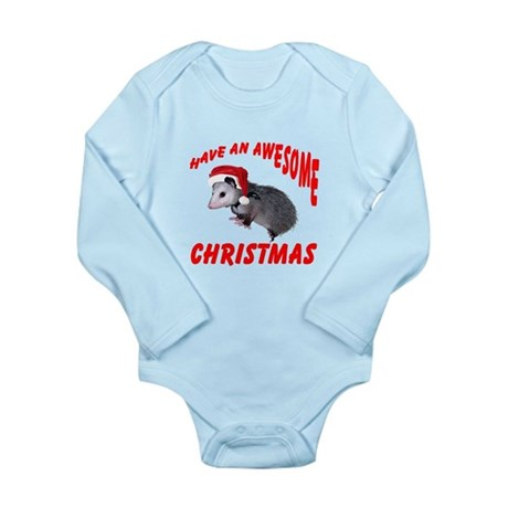 Santa Helper Possum Long Sleeve Infant Bodysuit