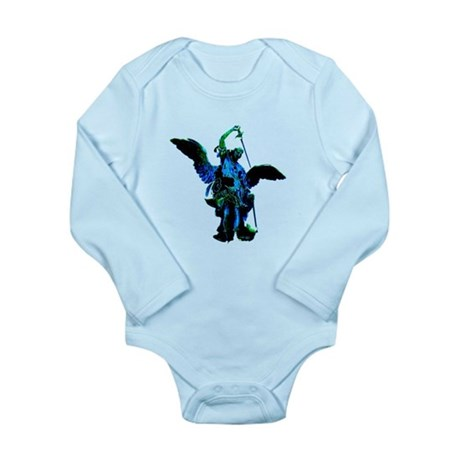 Powerful Angel - Blue Long Sleeve Infant Bodysuit