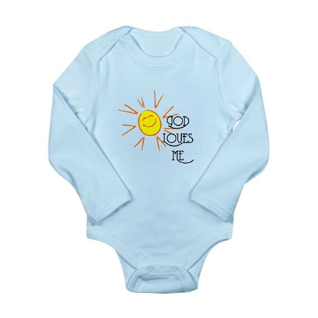 God Loves Me Long Sleeve Infant Bodysuit