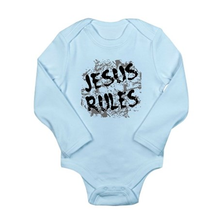 Jesus Rules Long Sleeve Infant Bodysuit