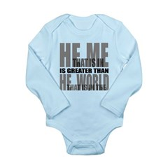 He is Greater Long Sleeve Infant Bodysuit