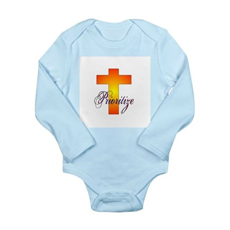 Prioritize Cross Long Sleeve Infant Bodysuit