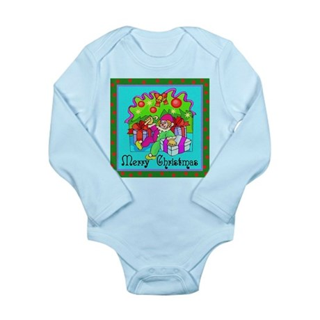 Merry Christmas Clown Long Sleeve Infant Bodysuit