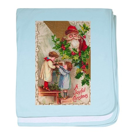 Vintage Christmas Card baby blanket