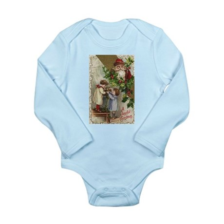 Vintage Christmas Card Long Sleeve Infant Bodysuit