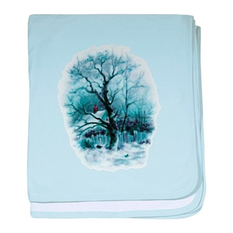 Winter Snowscene baby blanket