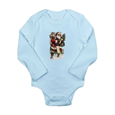 Vintage Santa Long Sleeve Infant Bodysuit