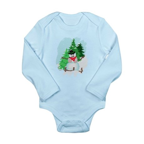 Forest Snowman Long Sleeve Infant Bodysuit