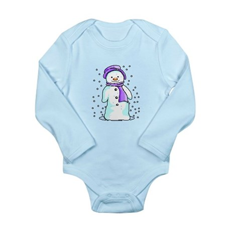 Happy Snowman Long Sleeve Infant Bodysuit