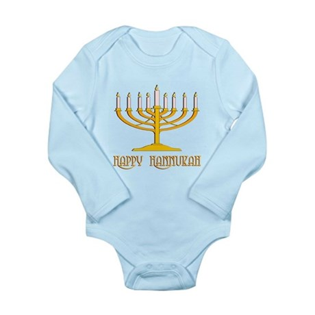 Happy Hanukkah Long Sleeve Infant Bodysuit