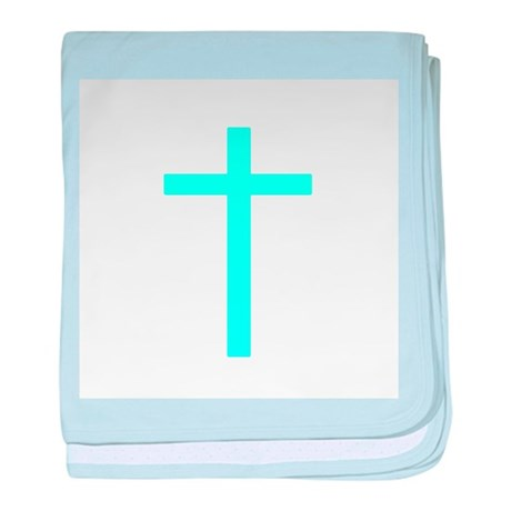 Teal Cross baby blanket