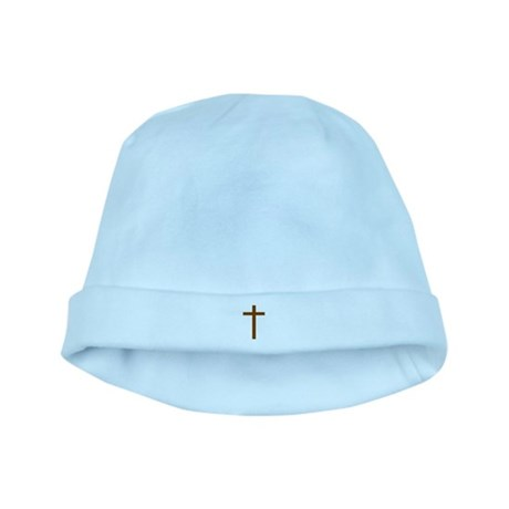 Brown Cross baby hat