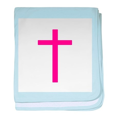 Pink Cross baby blanket