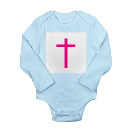 Pink Cross Long Sleeve Infant Bodysuit